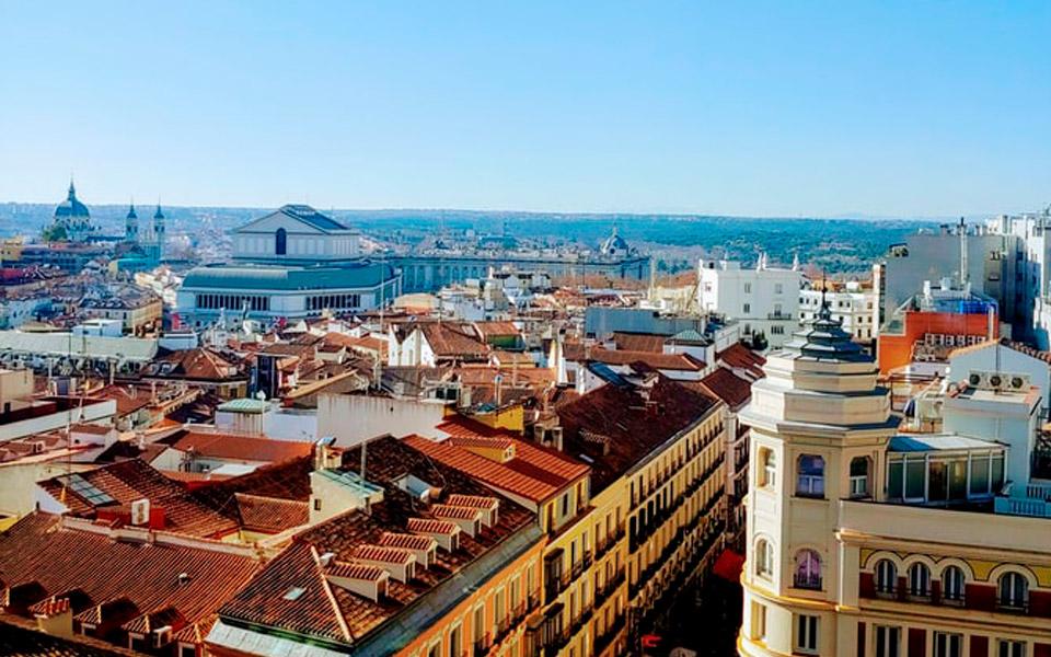 Vistas a las calles de Madrid desde las alturas